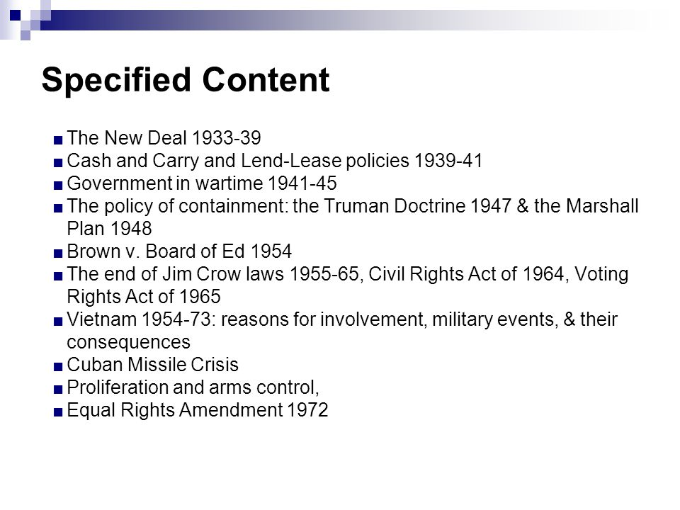 Specified Content The New Deal 1933-39