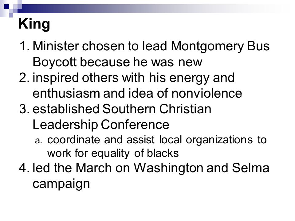 King Minister chosen to lead Montgomery Bus Boycott because he was new