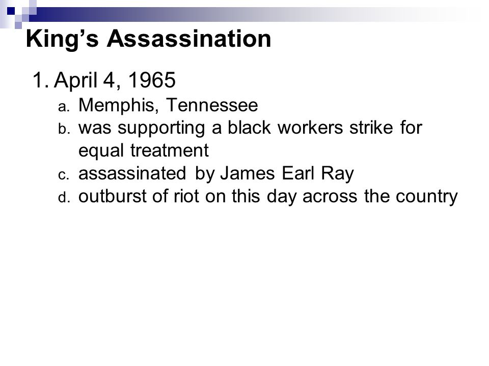 King's Assassination April 4, 1965 Memphis, Tennessee
