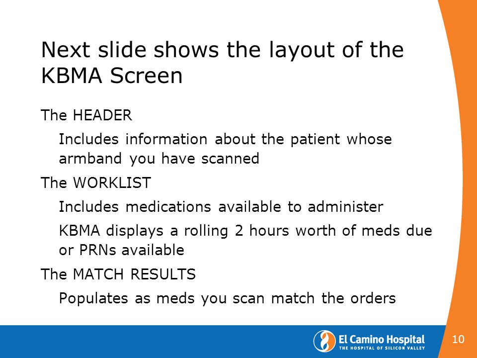 Next slide shows the layout of the KBMA Screen