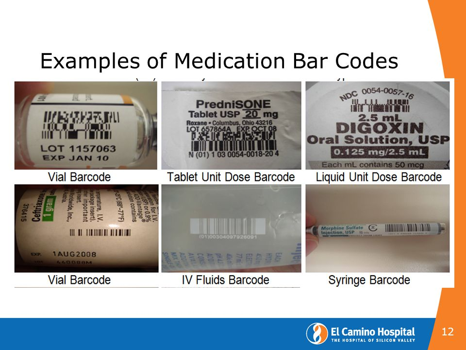 Examples of Medication Bar Codes