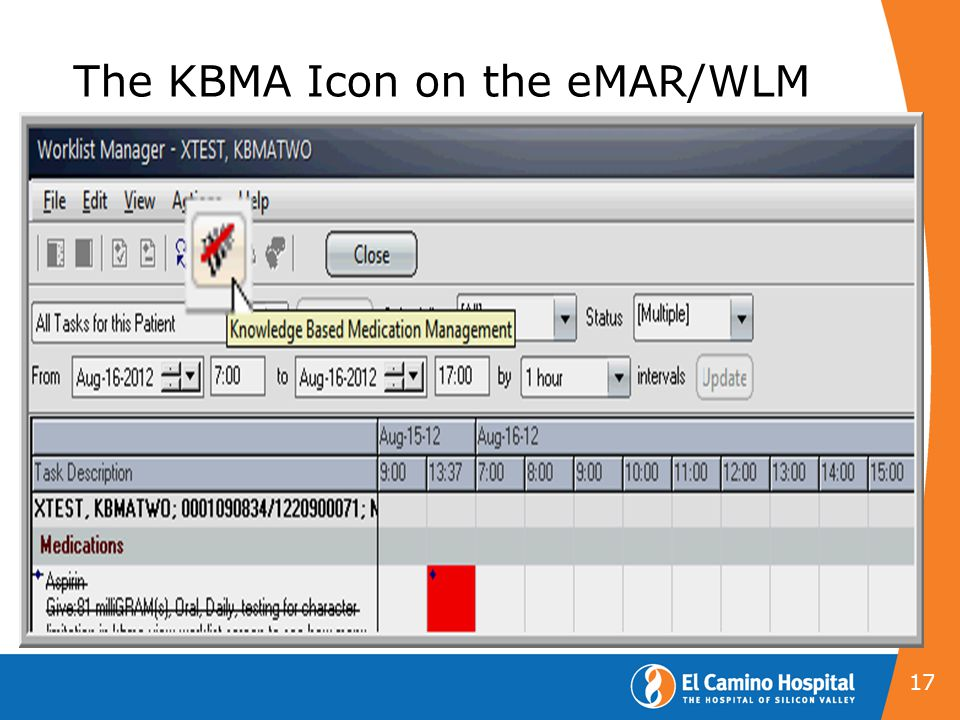 The KBMA Icon on the eMAR/WLM