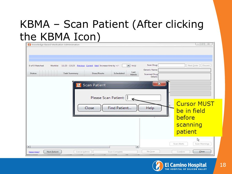 KBMA – Scan Patient (After clicking the KBMA Icon)