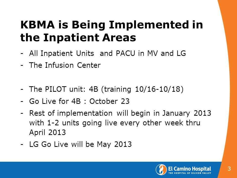 KBMA is Being Implemented in the Inpatient Areas