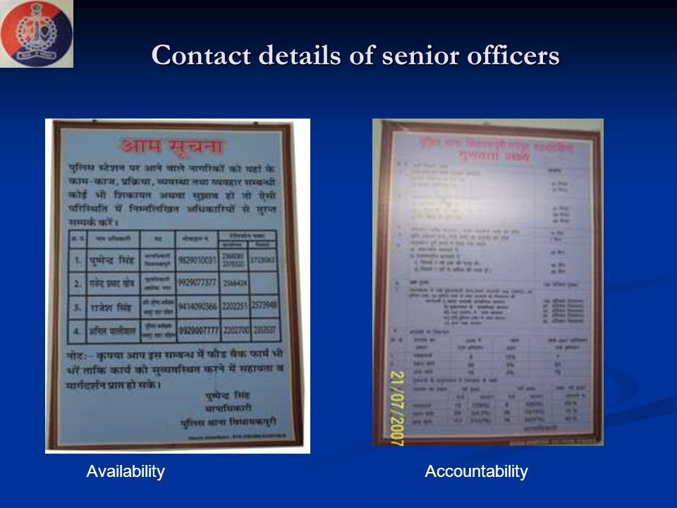 Contact details of senior officers