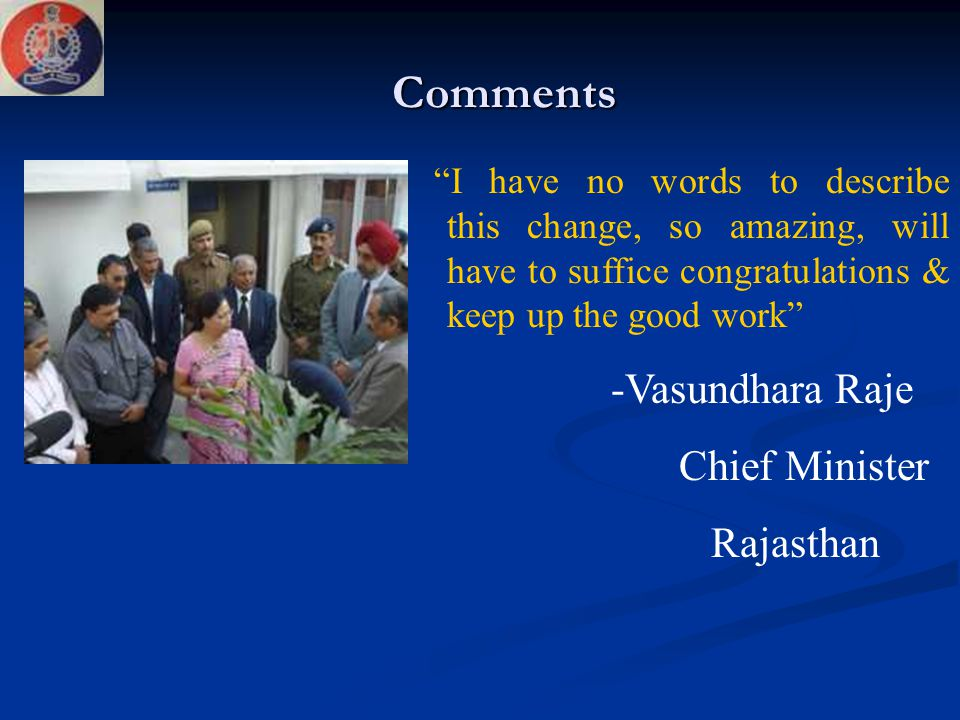 Comments Chief Minister Rajasthan