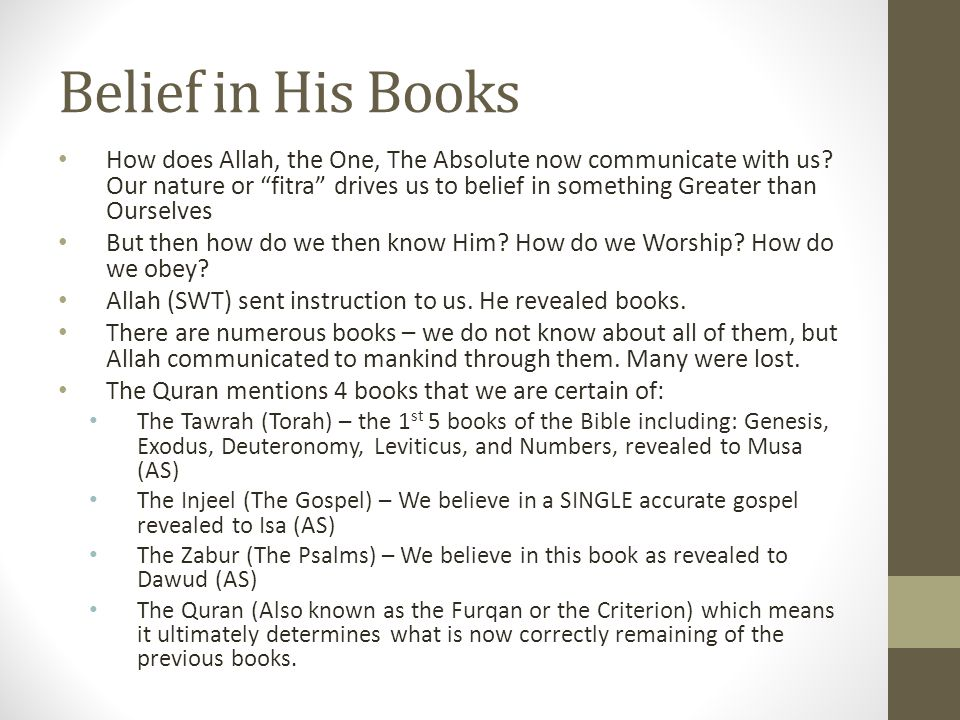 Belief in His Books