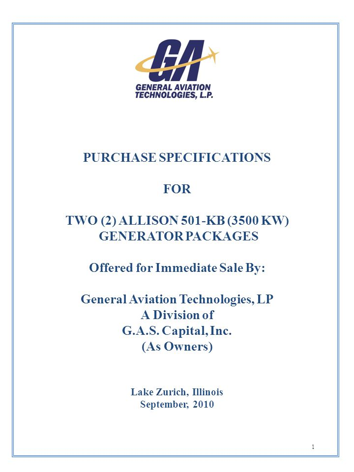 PURCHASE SPECIFICATIONS Offered for Immediate Sale By: