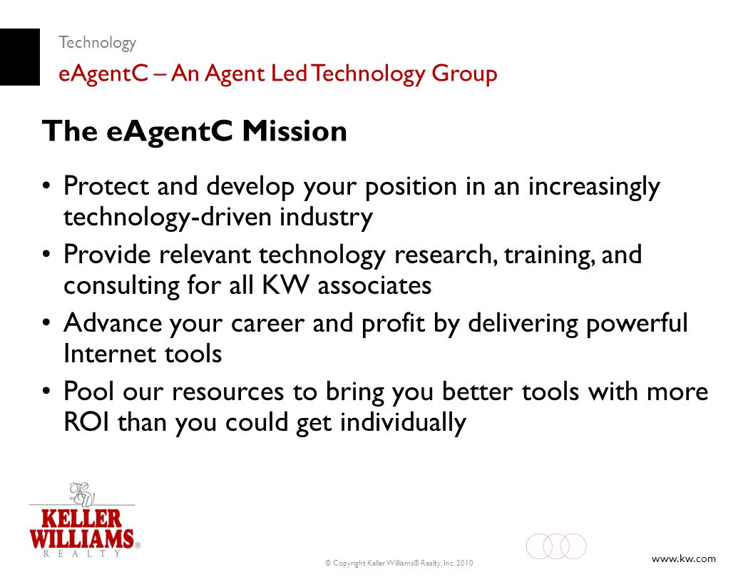 Technology eAgentC – An Agent Led Technology Group. The eAgentC Mission.