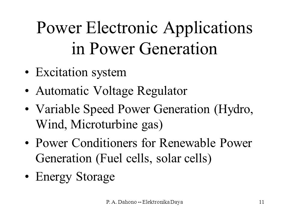 Power Electronic Applications in Power Generation