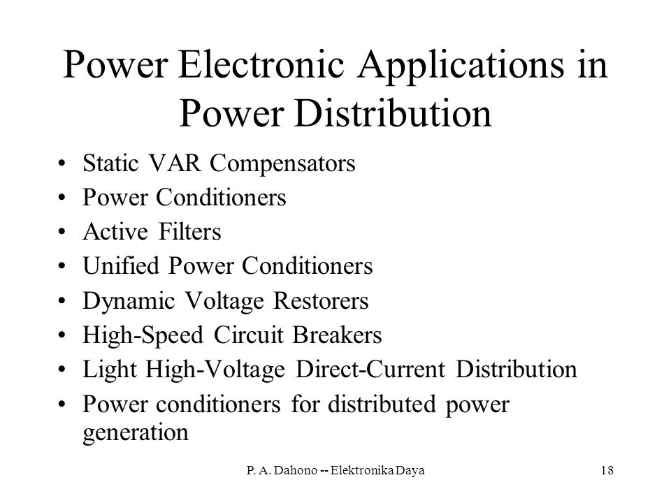 Power Electronic Applications in Power Distribution