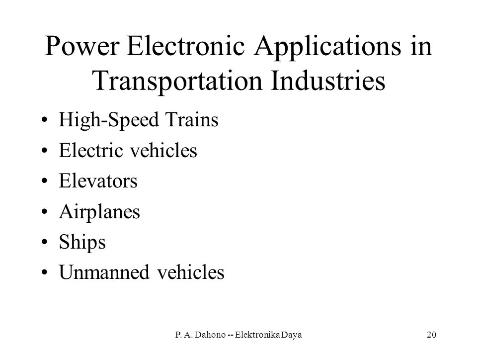 Power Electronic Applications in Transportation Industries