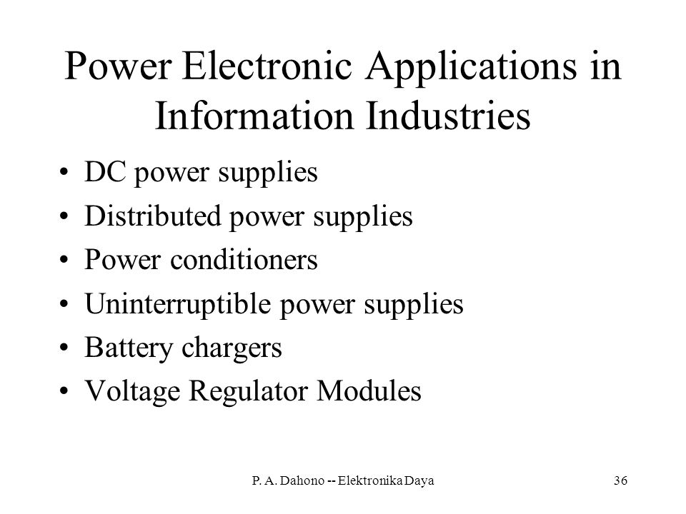 Power Electronic Applications in Information Industries
