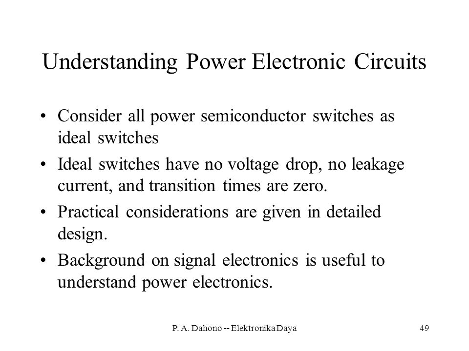 Understanding Power Electronic Circuits