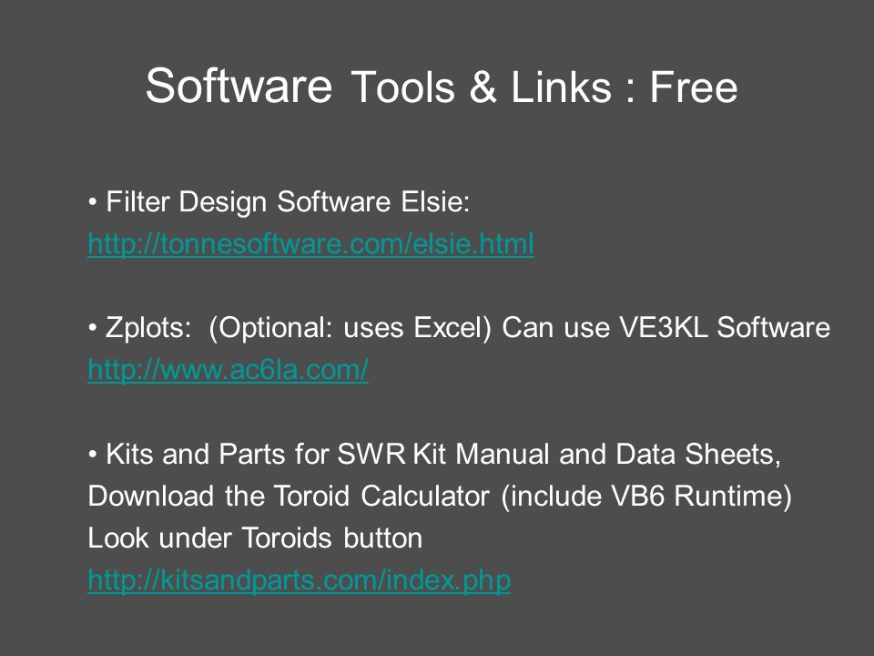 Software Tools & Links : Free