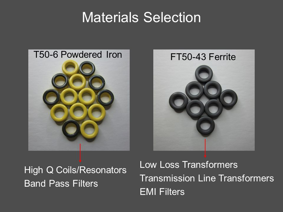 Materials Selection T50-6 Powdered Iron FT50-43 Ferrite