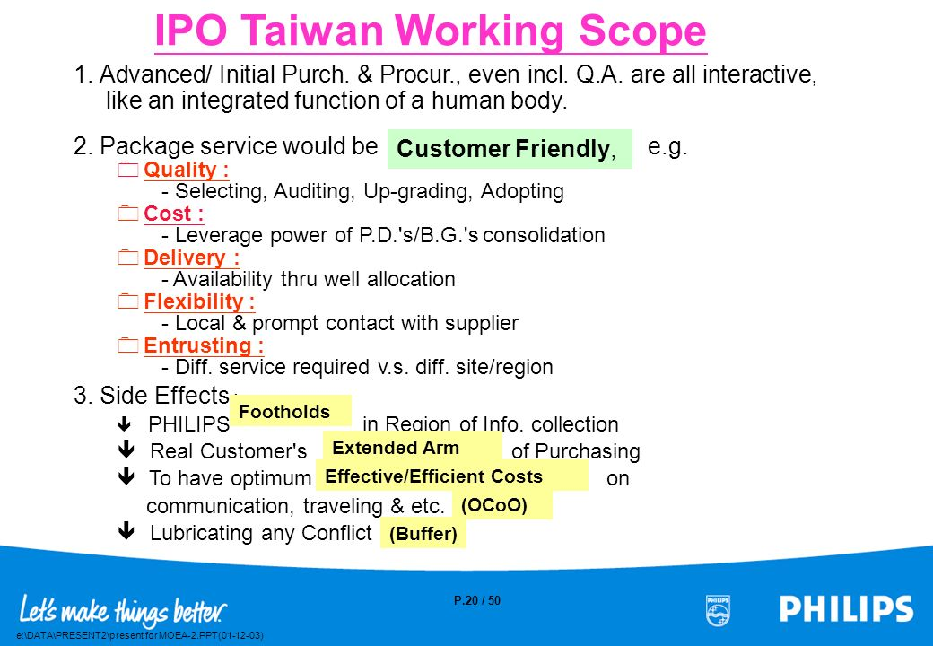 IPO Taiwan Working Scope