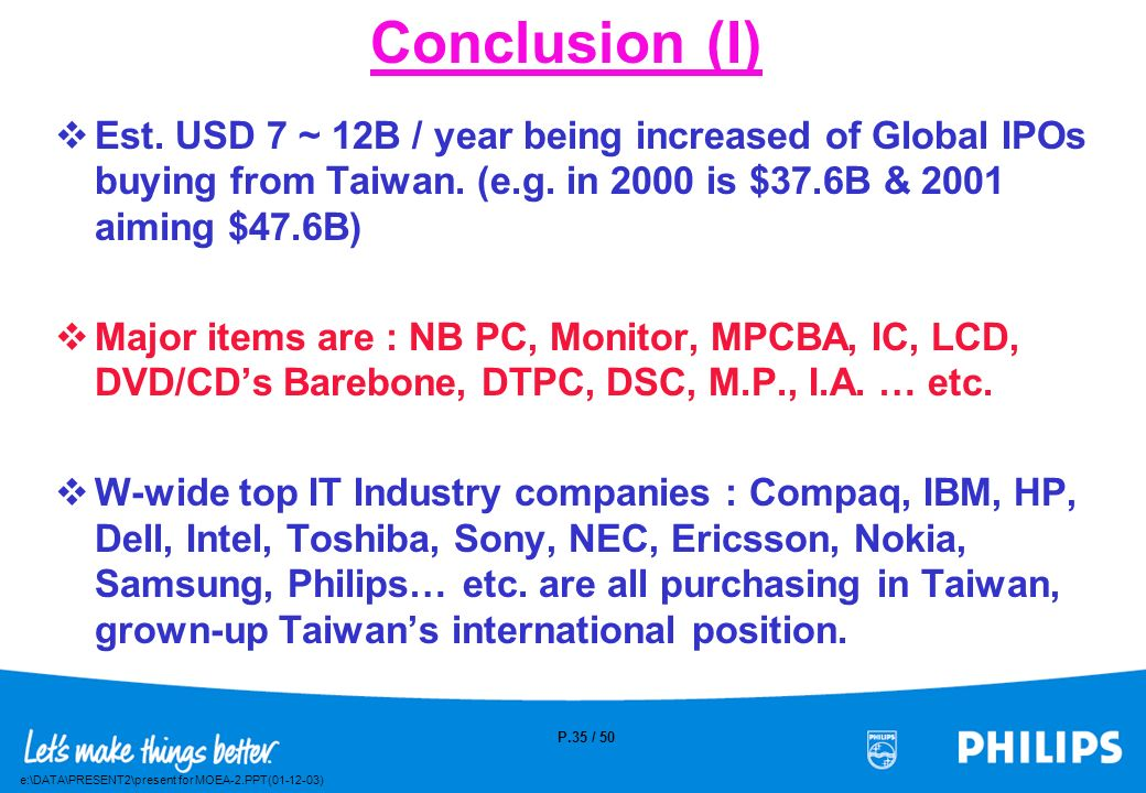 Conclusion (I) Est. USD 7 ~ 12B / year being increased of Global IPOs buying from Taiwan. (e.g. in 2000 is $37.6B & 2001 aiming $47.6B)