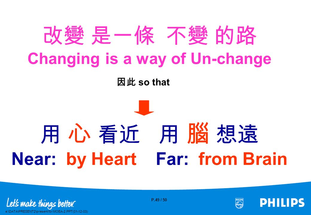 改變 是一條 不變 的路 Changing is a way of Un-change 用 心 看近 用 腦 想遠 Near: by Heart Far: from Brain
