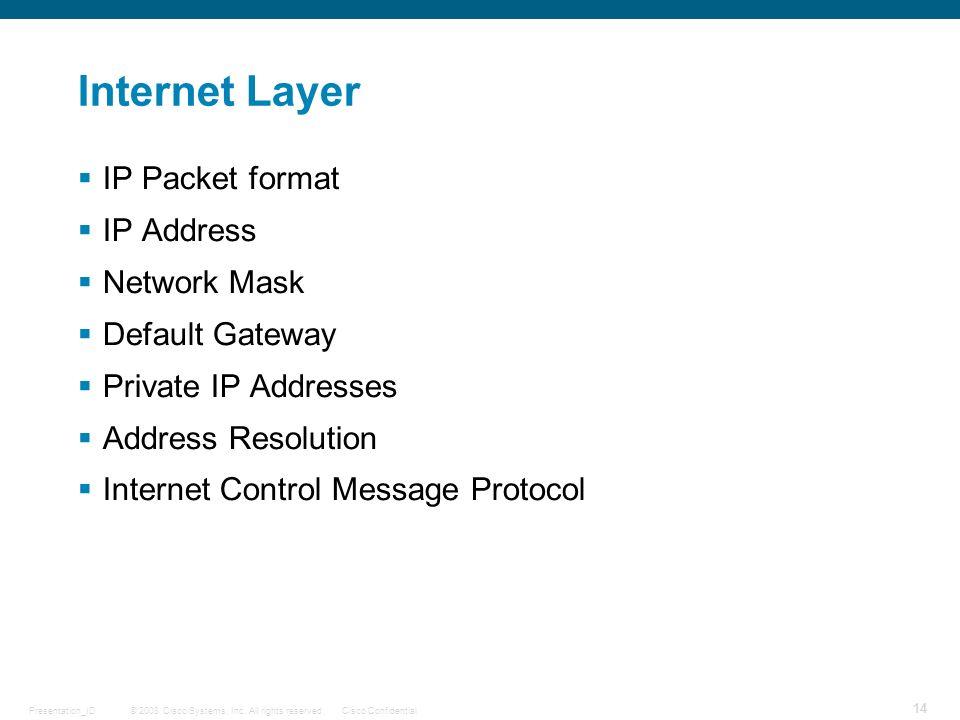Internet Layer IP Packet format IP Address Network Mask
