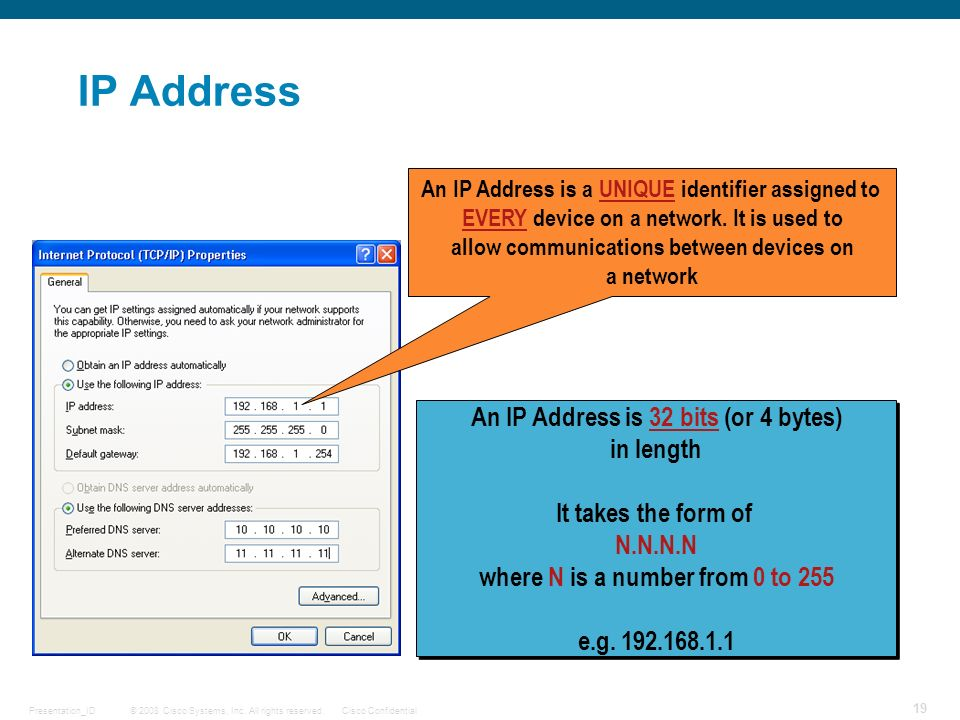 IP Address An IP Address is 32 bits (or 4 bytes) in length