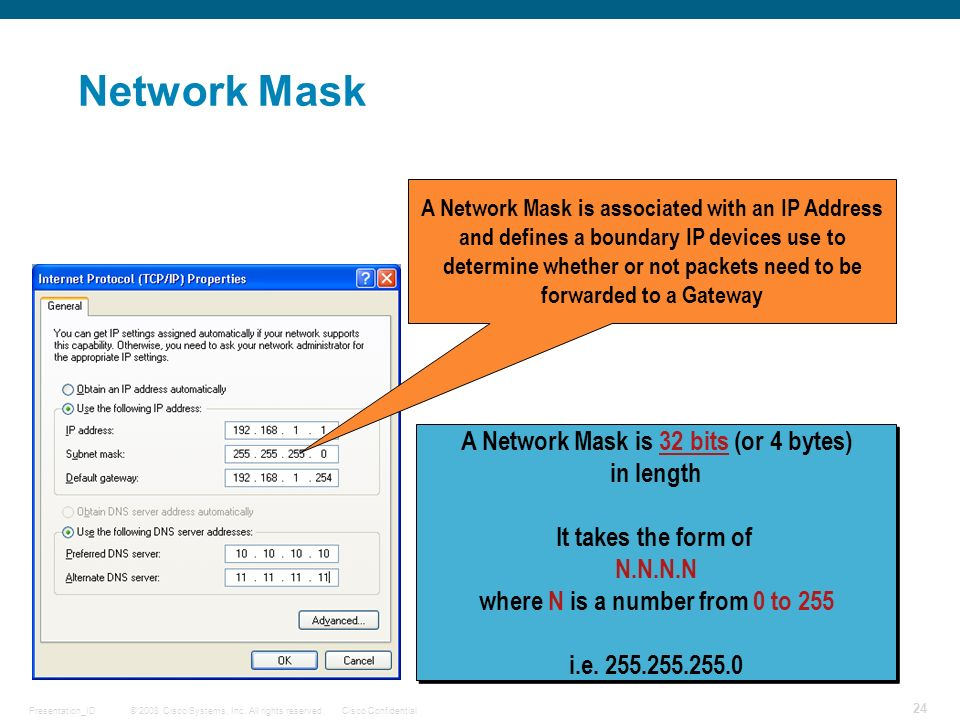 Network Mask A Network Mask is 32 bits (or 4 bytes) in length