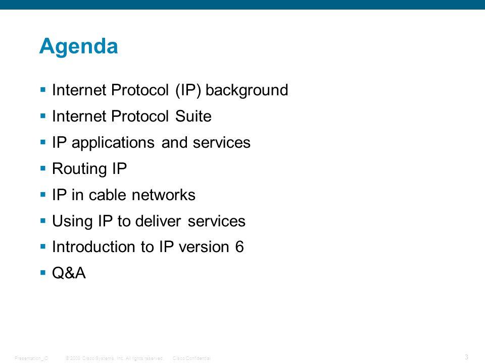 Agenda Internet Protocol (IP) background Internet Protocol Suite