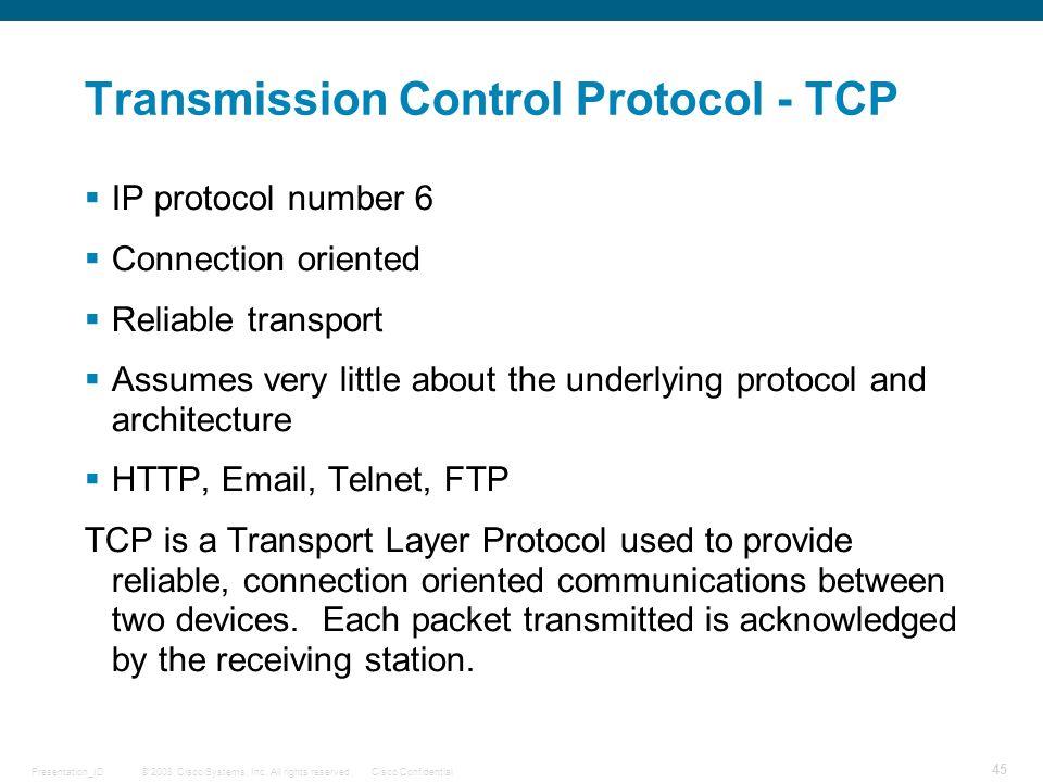 Transmission Control Protocol - TCP