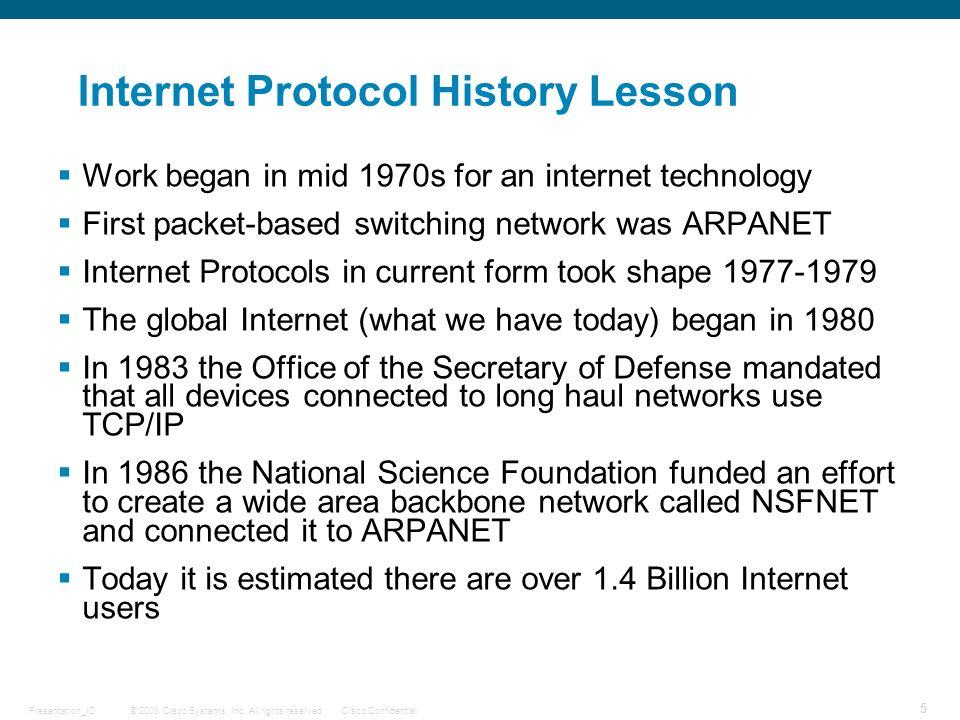 Internet Protocol History Lesson