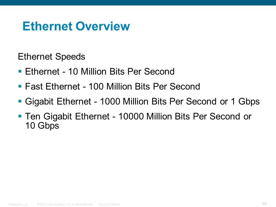 Ethernet Overview Ethernet Speeds
