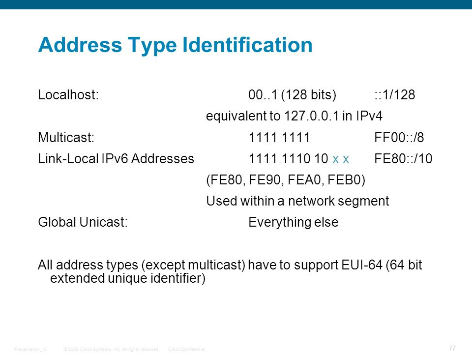 Address Type Identification