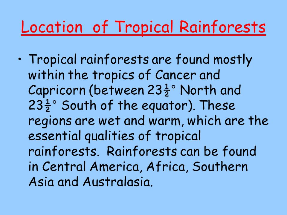 Location of Tropical Rainforests