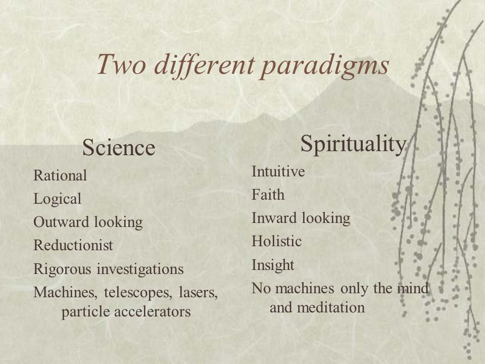 Two different paradigms