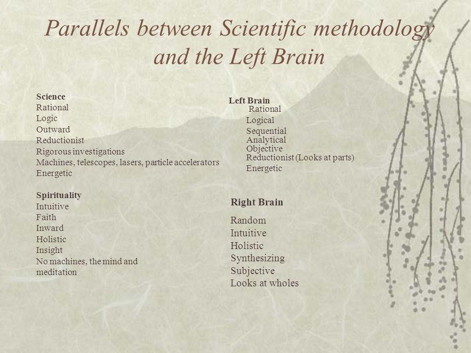 Parallels between Scientific methodology and the Left Brain
