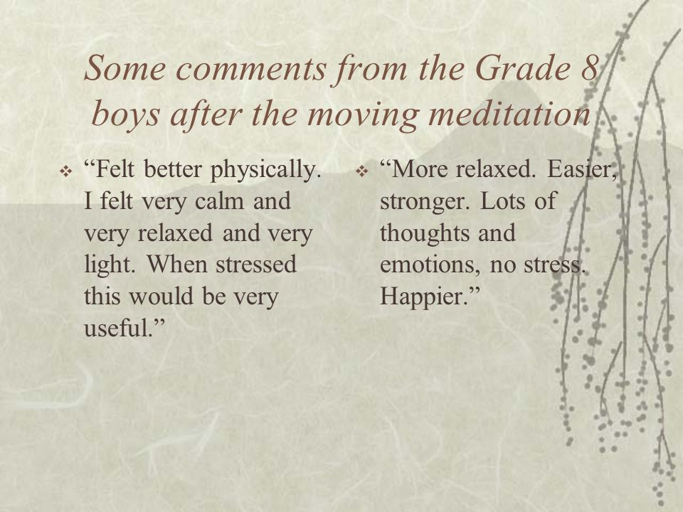Some comments from the Grade 8 boys after the moving meditation
