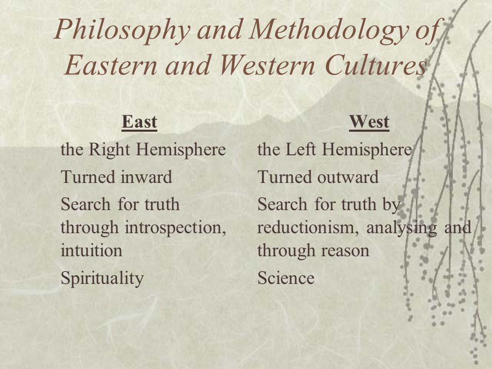 Philosophy and Methodology of Eastern and Western Cultures