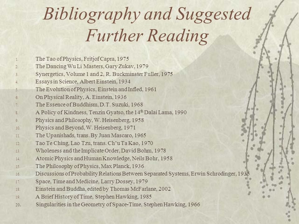 Bibliography and Suggested Further Reading