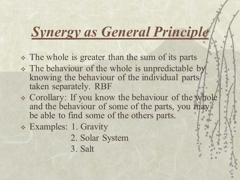 Synergy as General Principle