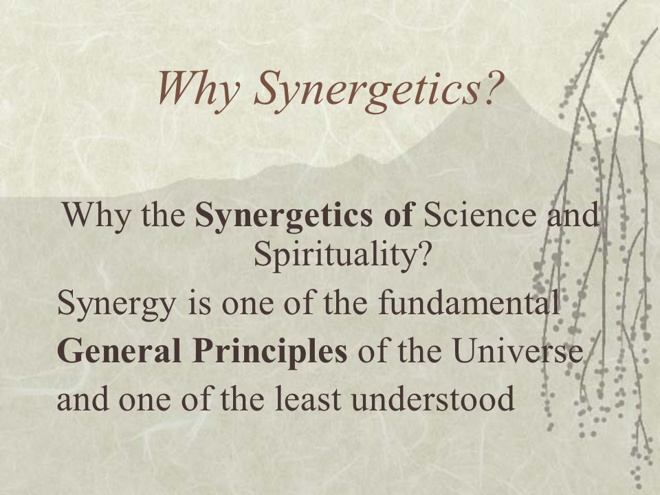 Why the Synergetics of Science and Spirituality