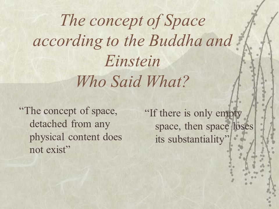 The concept of Space according to the Buddha and Einstein Who Said What
