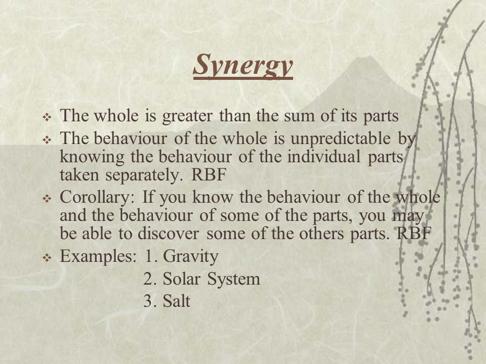 Synergy The whole is greater than the sum of its parts