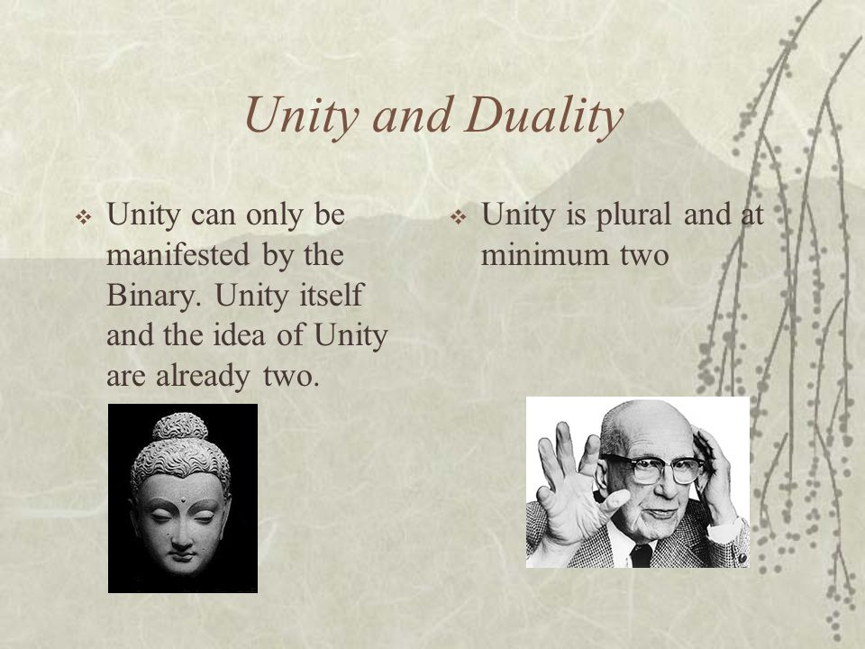 Unity and Duality Unity can only be manifested by the Binary. Unity itself and the idea of Unity are already two.