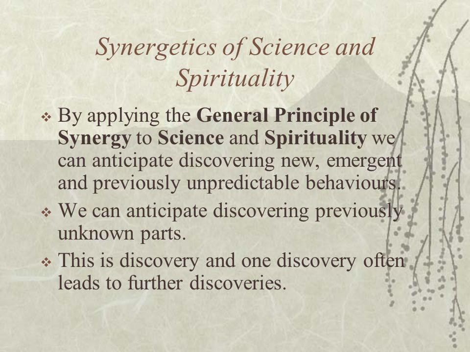 Synergetics of Science and Spirituality