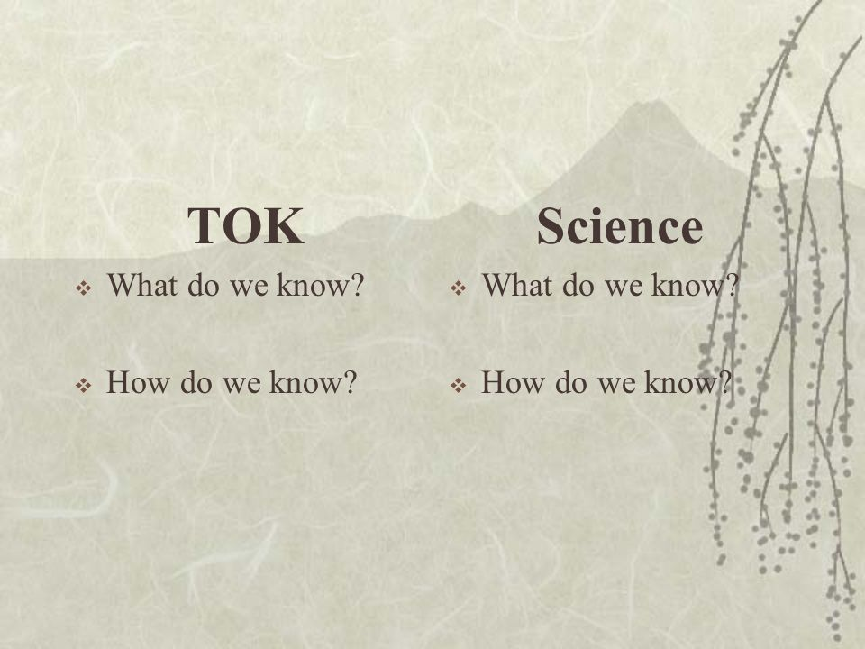 TOK Science What do we know How do we know What do we know