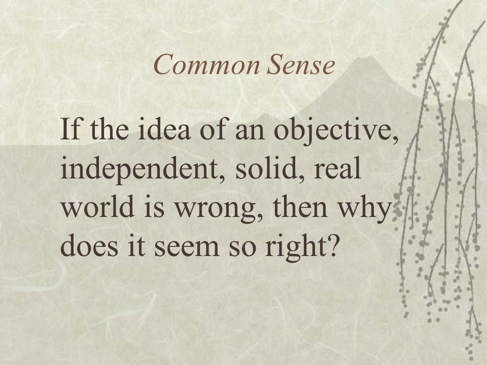 Common Sense If the idea of an objective, independent, solid, real world is wrong, then why does it seem so right