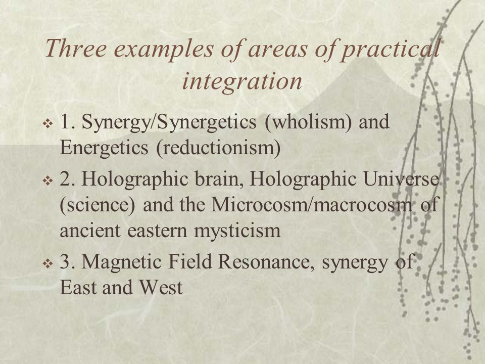 Three examples of areas of practical integration