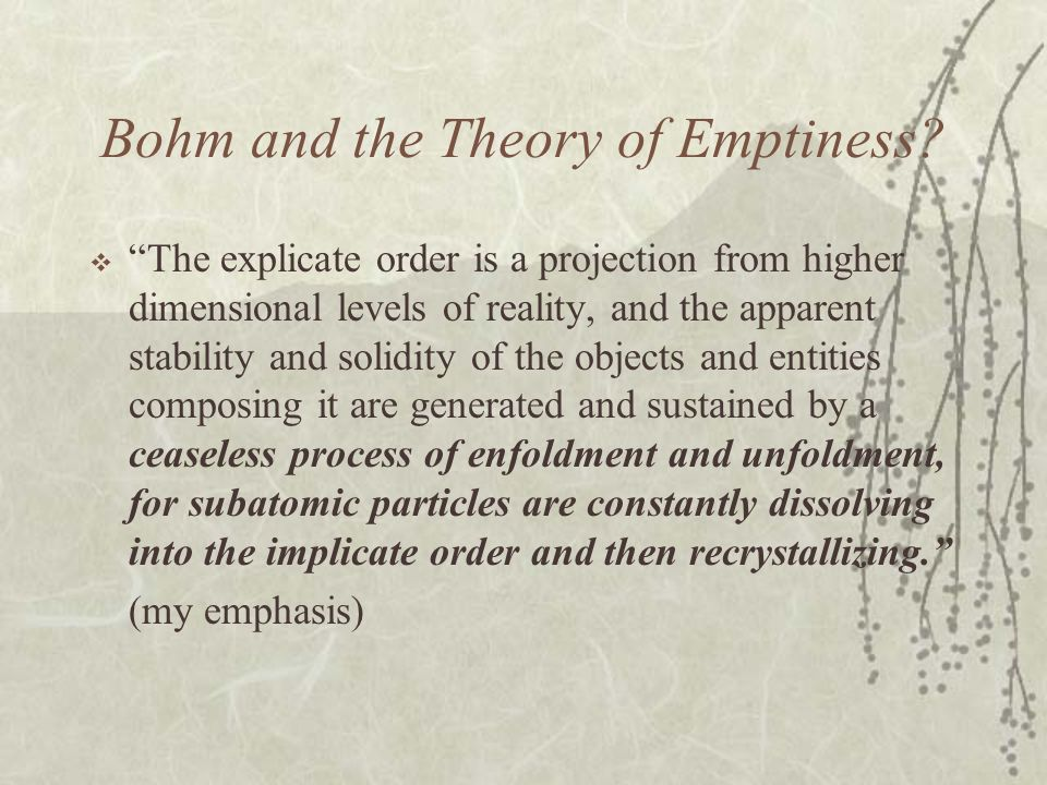 Bohm and the Theory of Emptiness