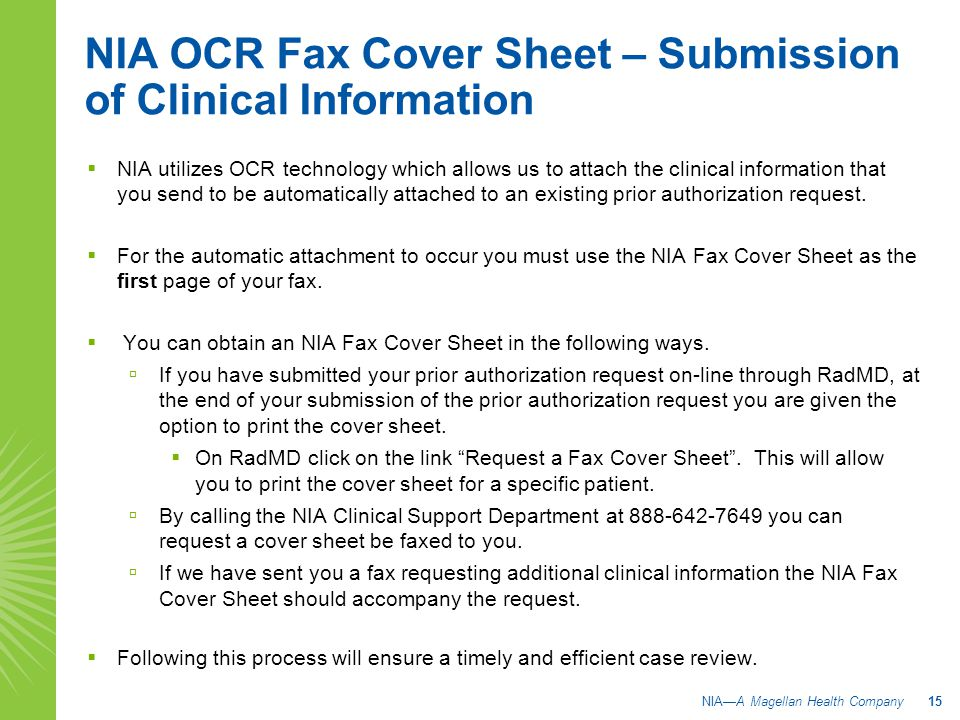 NIA OCR Fax Cover Sheet – Submission of Clinical Information