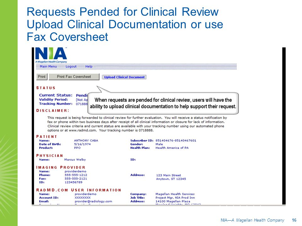 Requests Pended for Clinical Review Upload Clinical Documentation or use Fax Coversheet