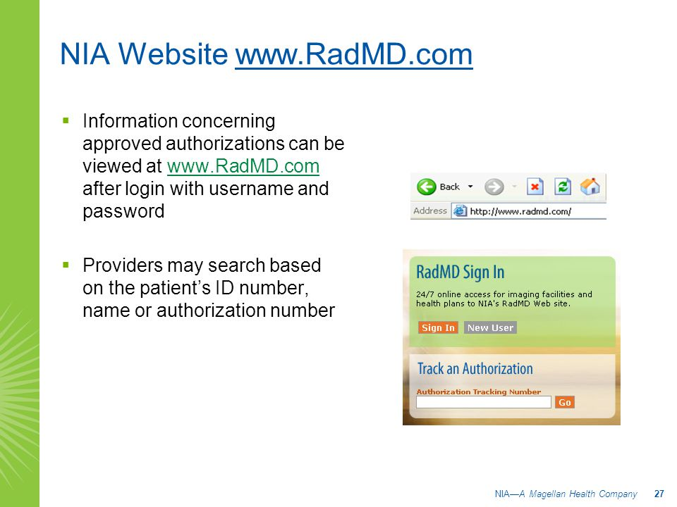 NIA Website www.RadMD.com